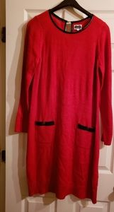 NWT Red Knit Dress w/ Black Piping Large